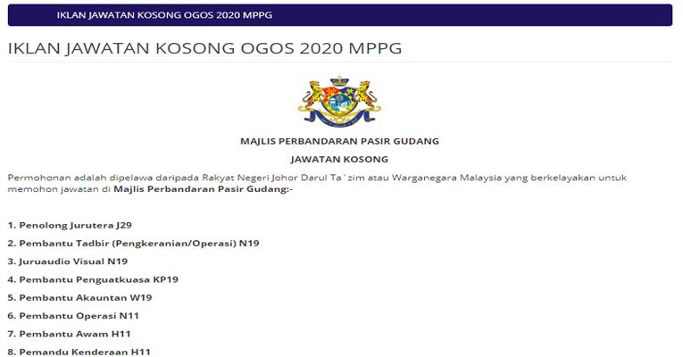 Kekosongan Terkini di Majlis Perbandaran Pasir Gudang (MPPG)