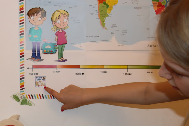 pointing to the timeline sticker for ancient Egypt placed on the Mysteries in Time world map