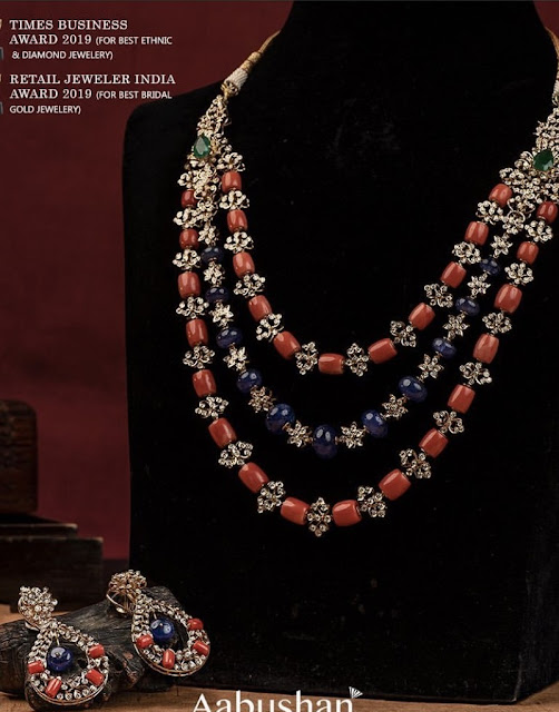 Coral Beads Diamonds Necklace