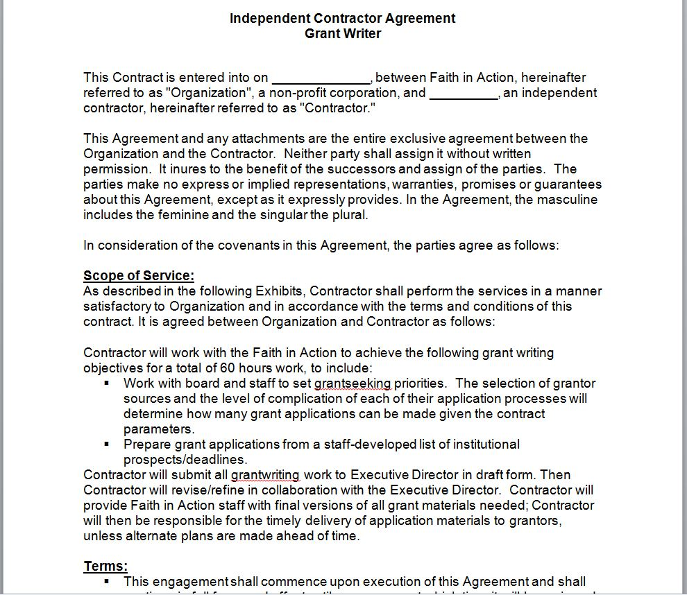 Exemples of Grant Agreement Contracts in word doc | Sample ...
