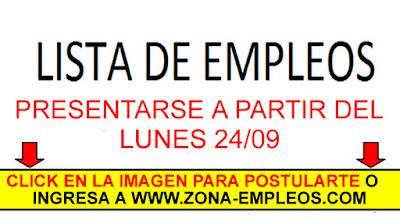 EMPLEOS PARA PRESENTARSE A PARTIR DEL 24/09