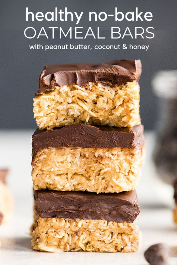 Healthy No-Bake Oatmeal Bars with Peanut Butter, Coconut & Honey