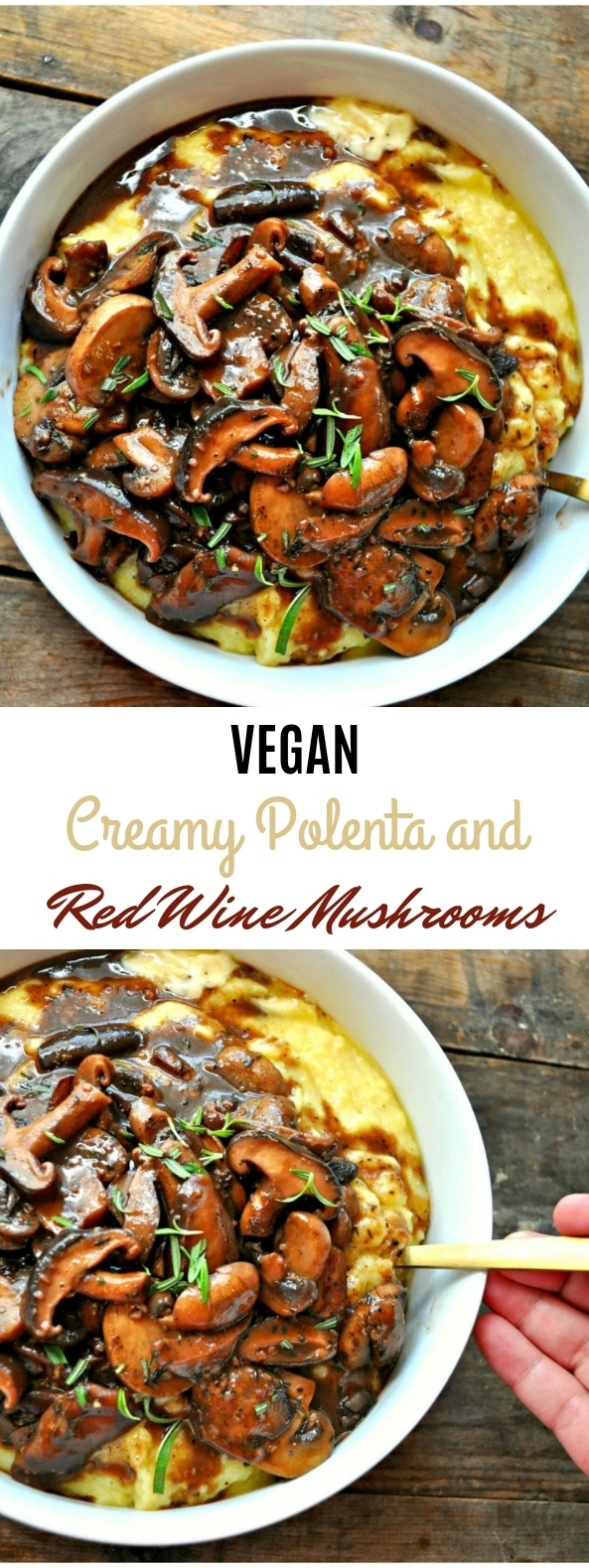 Vegan Creamy Polenta and Red Wine Mushrooms #creamy #vegan