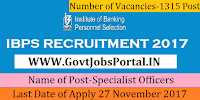 Institute of Banking Personnel Selection IBPS CO Recruitment 2017 – 1315 Specialist Officers