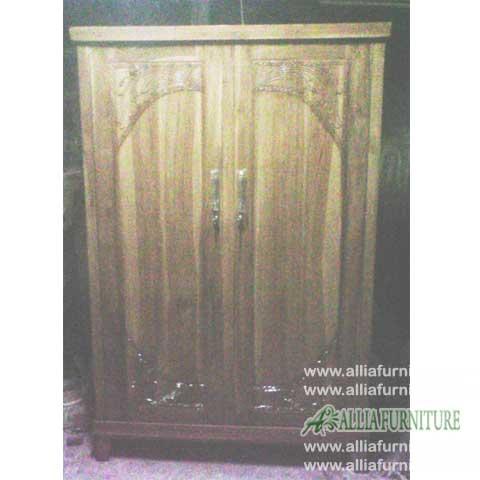 lemari minimalis jati 2 pintu motif majapahit
