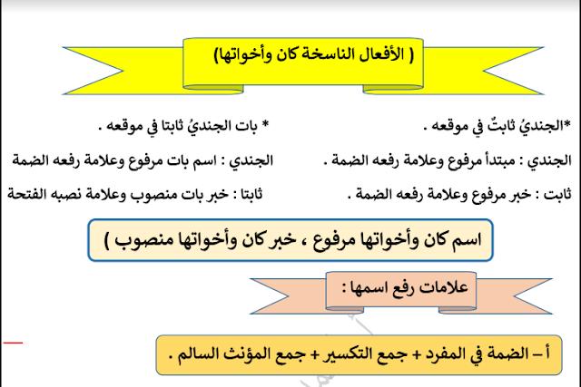 الفصل الدراسي الاول مذكرة قواعد النحو لغة عربية للصف العاشر