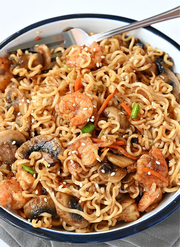 a bowl with sesame garlic noodles