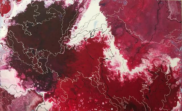 Maru Prats arte abstracto acrílico lienzo red shades