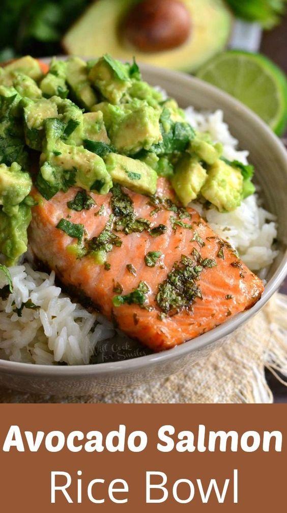 Best Avocado Salmon Rice Bowl