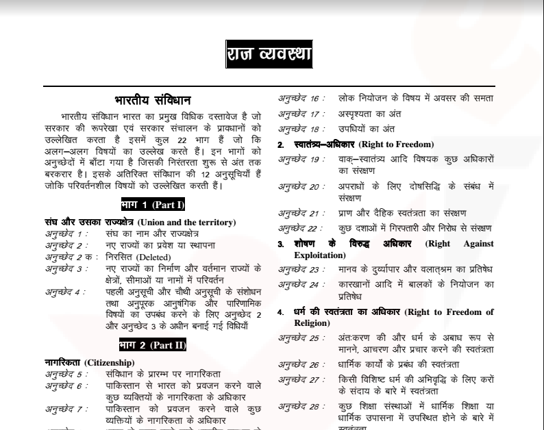 Indian Constitution] Download Indian Constitution Notes in