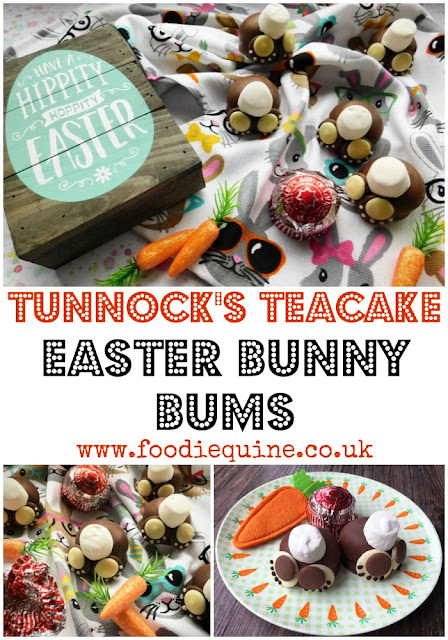 www.foodiequine.co.uk The perfect no bake chocolate treat for Easter. Using the iconic Scottish Tunnock's Teacake  along with chocolate buttons and marshmallow tails to make oh so cute Easter Bunny Bums.