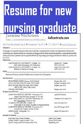 Resume for new nursing graduate