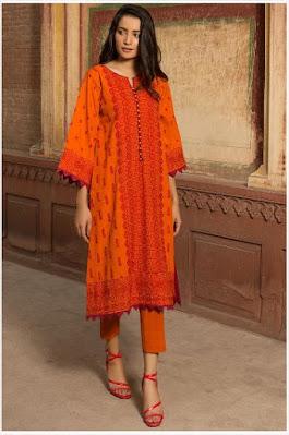 warda winter single shirt khaddar chikan Kari suit orange colour