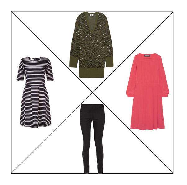 Леггинсы, платье-свитер с леопардовым принтом, коралловое платье, платье в полоску для капсульного гардероба в повседневном стиле Casual