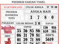 PREDIKSI INDONESIA TOTO JUMAT, 23 OCTOBER 2020