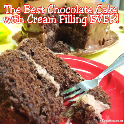 If you have a chocolate cake craving, definitely whip up the best chocolate cake with cream filling ever.  Using boxed cake and canned frosting, you can add a few other ingredients to make a moist, yummy, delicious chocolate cake that will have you craving more.