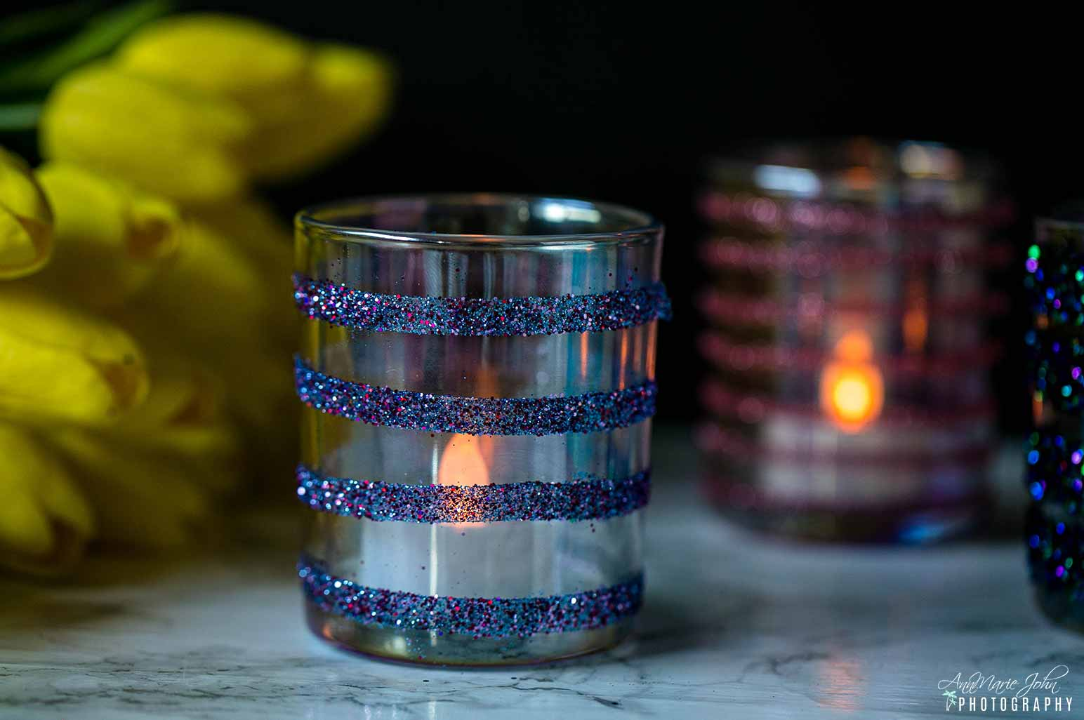 Glitter Votive Candle Jar