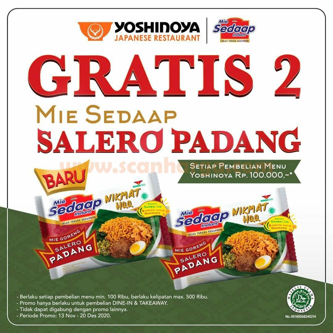 Promo Yoshinoya Terbaru Gratis 2 Mie Sedap Salero Padang* Setiap pembelian menu Rp 100rb