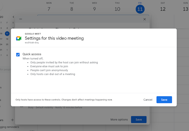 Turn Google Meet Quick access on or off from Google Calendar