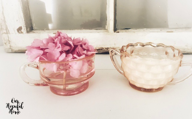 vintage pink depression glass sugar bowl creamer