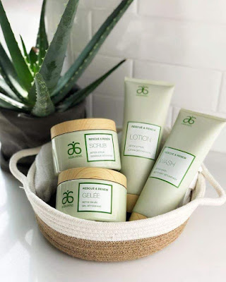 Arbonne's Rescue and Renew products, beautiful for creating a spa experience in your own home