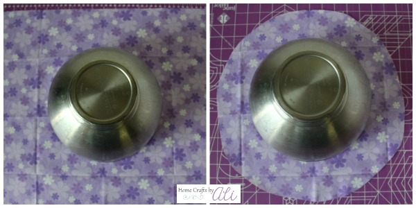 measure kitchen aid bowl on fabric and trim to size