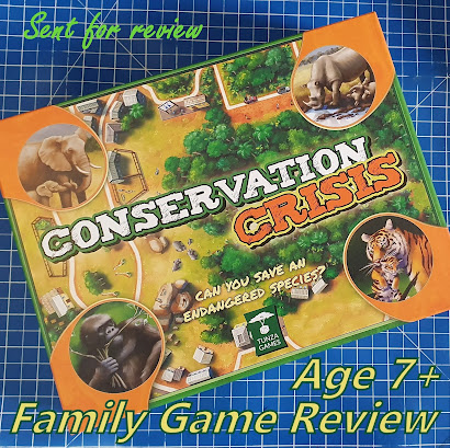 Conservation Crisis Family Board Game Review Pack shot of box with wild animal images
