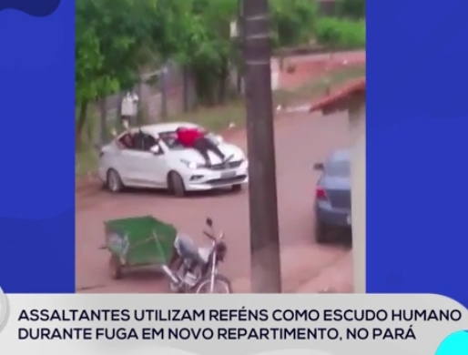 MOMENTOS DE PÂNICO: Refém é amarrado em capô de carro após assalto em Novo Repartimento, no Pará