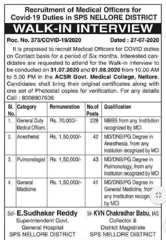 GGH Nellore GDMO Doctors Recruitment 2020 354 Anesthetist, Pulmonologist, General Medicine Jobs Walk in interview