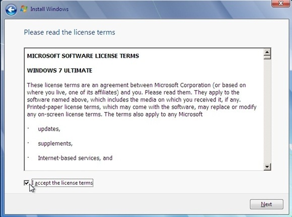 Instal windows 7 - centang i accept license terms