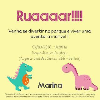 Aniversário Tema Dinossauro - Meninas - DIY - convite