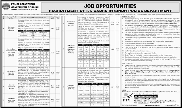 Sindh Police Department Jobs 2019 by PTS | 1618+ Vacancies | Latest Advertisement