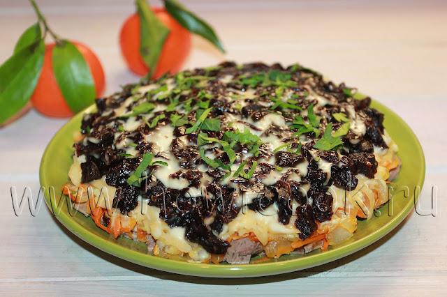 рецепт салата с куриной печенью и черносливом