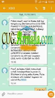 Setelah mendapatkan sms pemberitahuan keluar dari komunitas sebelumnya dan sms pemberitahuan telah tergabung di CUG CORPORATE XXX