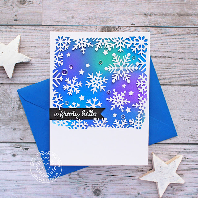 Sunny Studio Stamps: Snowflake Frame Dies Circle Snowflake Frame Dies Feeling Frosty Winter Themed Card by Vanessa Menhorn