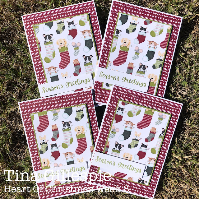 scissorspapercard, Stampin' Up!, Heart Of Christmas, Sweet Stockings DSP, Word Of Cheer, Sheetload Of Cards, Christmas Card