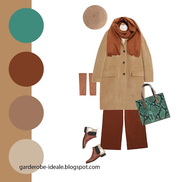 Сочетание пальто цвета кэмел и изумрудной зеленой сумки