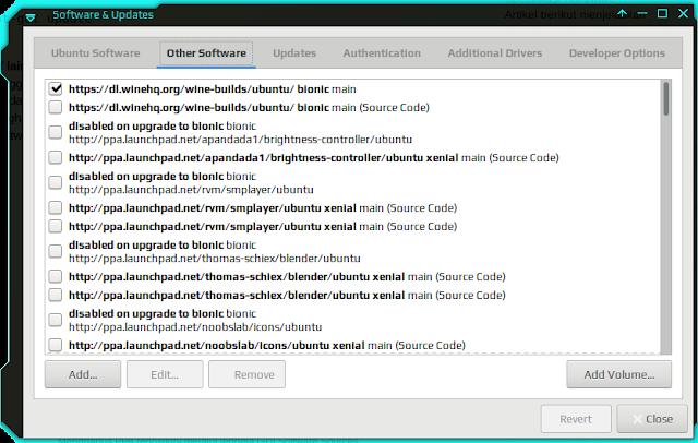 Software & Updates On Xubuntu