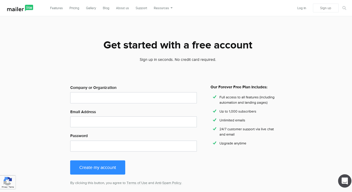 Create an account with MailerLite | via A Relaxed Gal