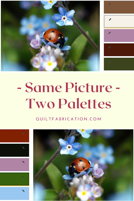 red ladybug on blue flowers for two different color palettes by QuiltFabrication