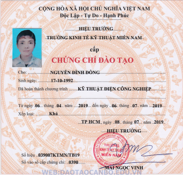 chung chi nghe dien cong nghiep