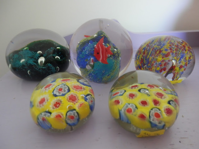 charity shop, retro glass paperweights secondhandsusie.blogspot.co.uk
