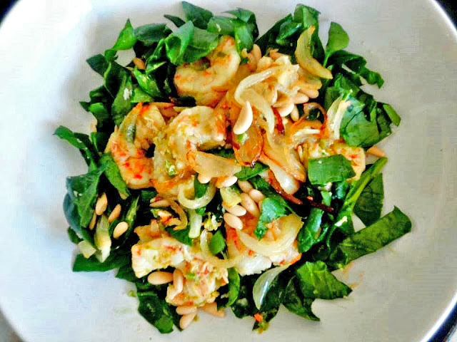 Prawns, Green Chilli, Spinach, Lime, Coconut, Pine Nuts, Recipe