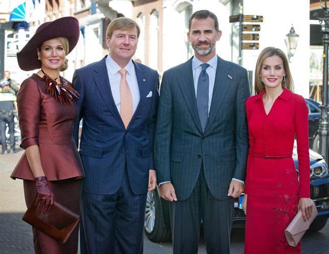 King Willem-Alexander of the Netherlands and Queen Maxima of the Netherlands with King Felipe of Spain and Queen Letizia of Spain at The Noordeinde Palace