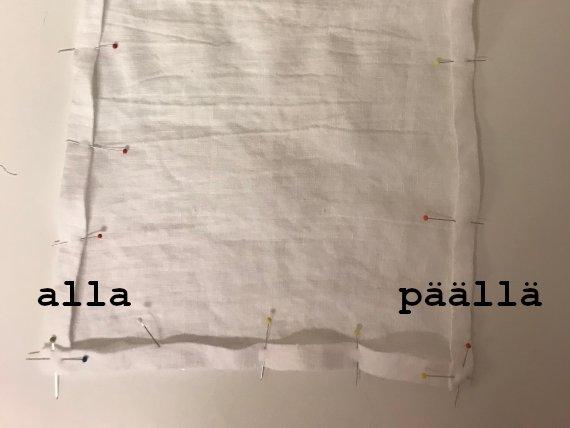 Kuvassa on valkonen kangas, jossa on neuloja.