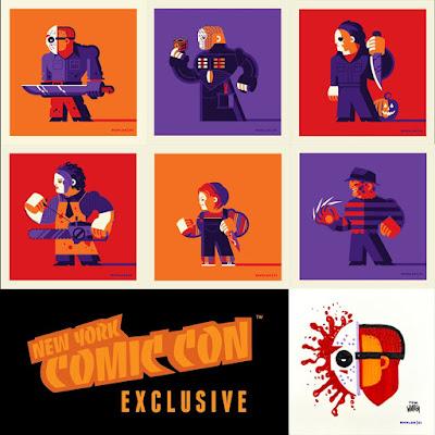 "New York Comic Con 2021 Exclusive Slashers 4""x4"" Screen Print Set by Tom Whalen"