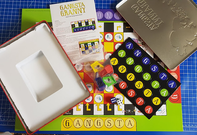 Gangsta Granny Stash The Swag Board Game box contents counters rules board