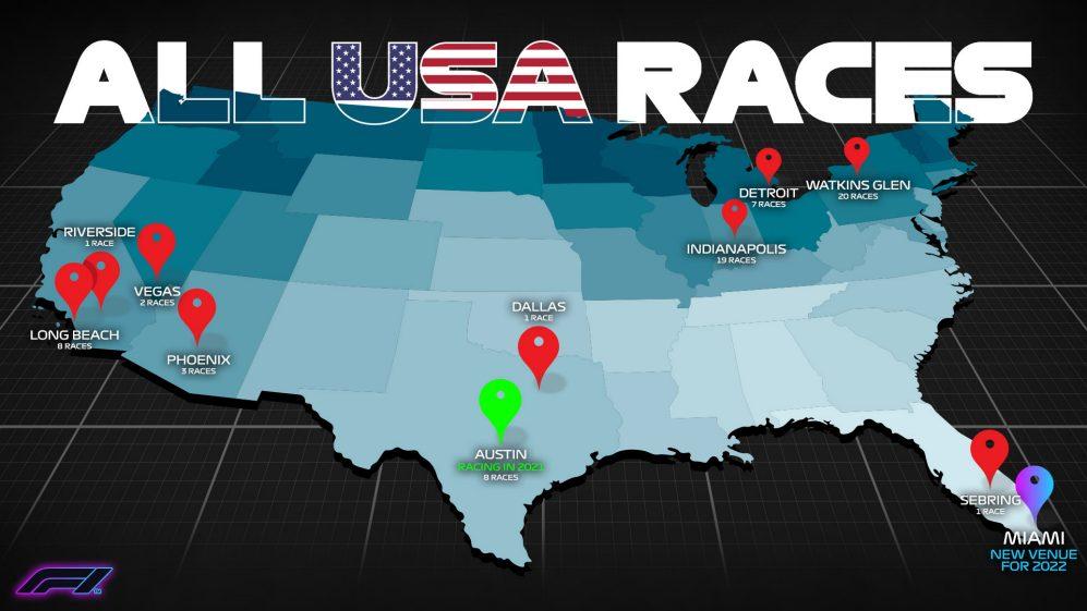 Miami está chegando - mas onde mais a F1 correu nos EUA