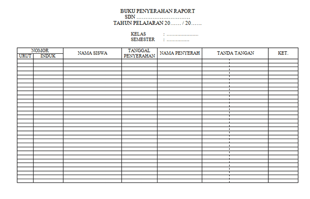 Contoh Buku Penyerahan Raport Format Tabel Microsoft Word