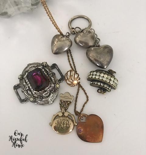3-D silver heart charm amethyst brooch gold monogrammed locket